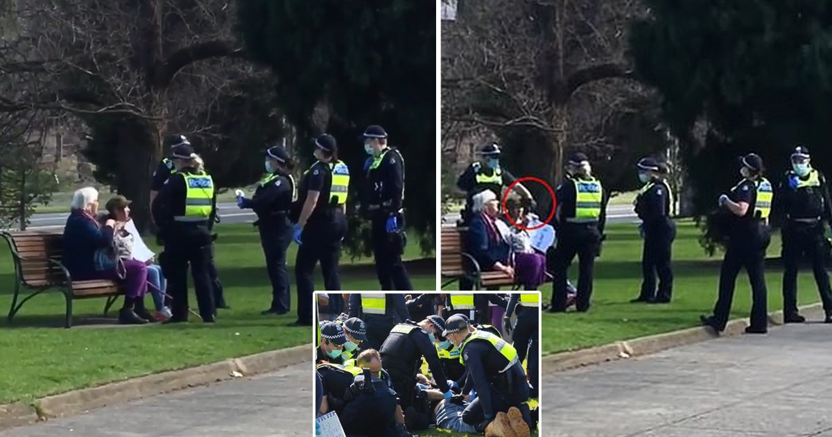 arrest.jpg?resize=1200,630 - Police Officer Violently Snatches Phone From Elderly Lady Before Threatening Arrest