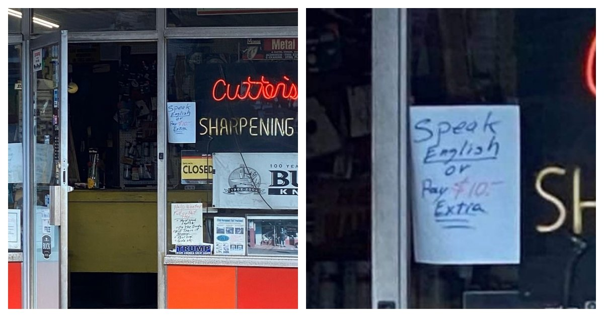 """collage 29.jpg?resize=1200,630 - Store Sparks Controversy For Poster That Read """"Speak English or Pay $10 More"""""""