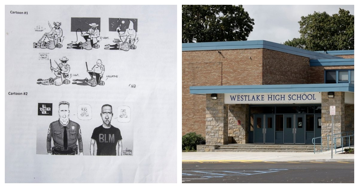 collage 36.jpg?resize=1200,630 - High School Teacher Sparks Controversy For Handing Out Cartoon That Likens Cops to the KKK