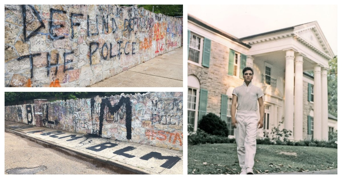 collage 6.jpg?resize=1200,630 - Protestors Spray-Painted Political Messages On A Wall Around Elvis Presley's Graceland Estate