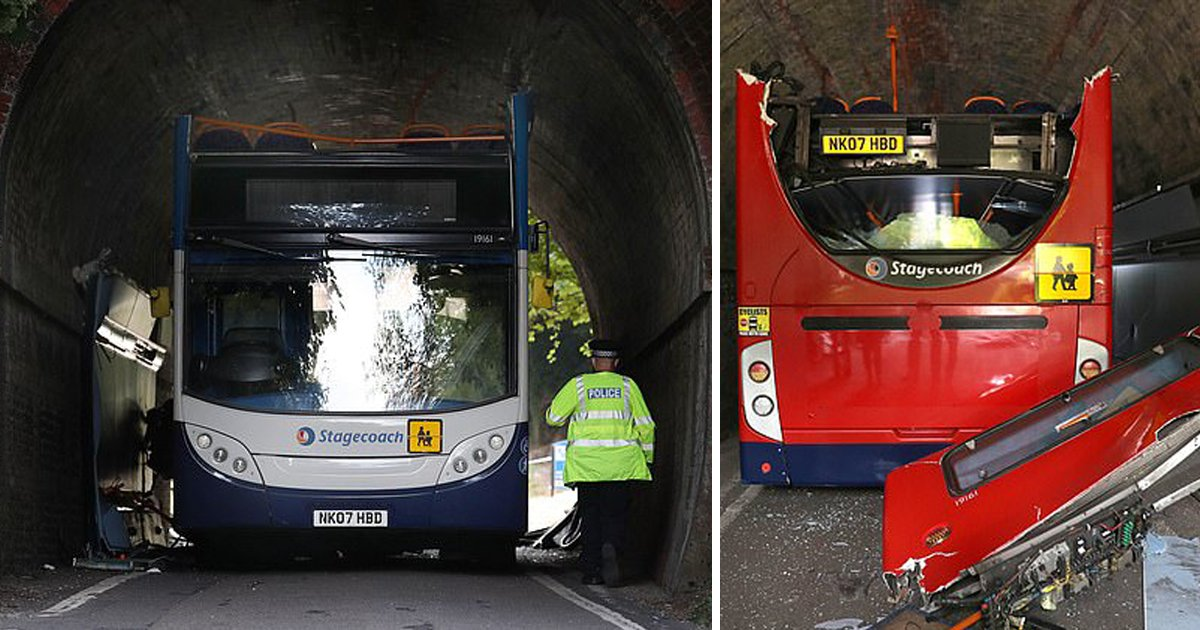 dhdrftghvb.jpg?resize=1200,630 - Children Rushed To The Hospital With Serious Injuries After Double Decker School Bus Collides With Railway Bridge