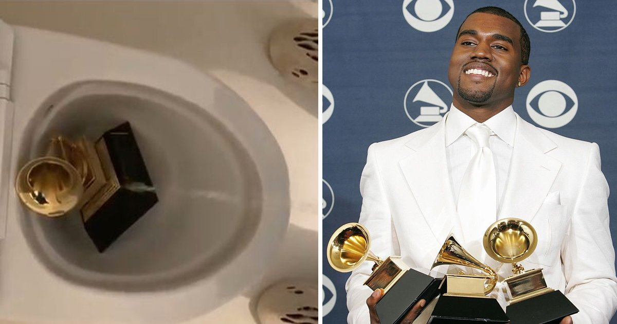 kanye.jpg?resize=1200,630 - Kanye West Posts Bizarre Video Of Himself Urinating On His Own Grammy Award