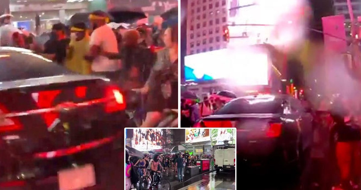nyc car.jpg?resize=1200,630 - BLM Protests In Times Square Takes Ugly Turn As Car Rams Into Crowd of Demonstrators