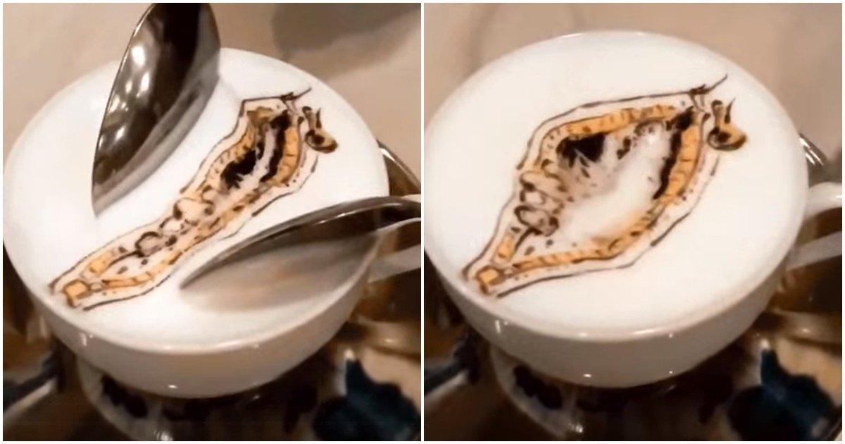 "page 393.jpg?resize=1200,630 - ""아니 커피를 시켰는데 이렇게 줬어요..;;"" 이상한 그림을 그려준 커피 안을 열었더니 나온 '충격적인' 모습 (영상)"