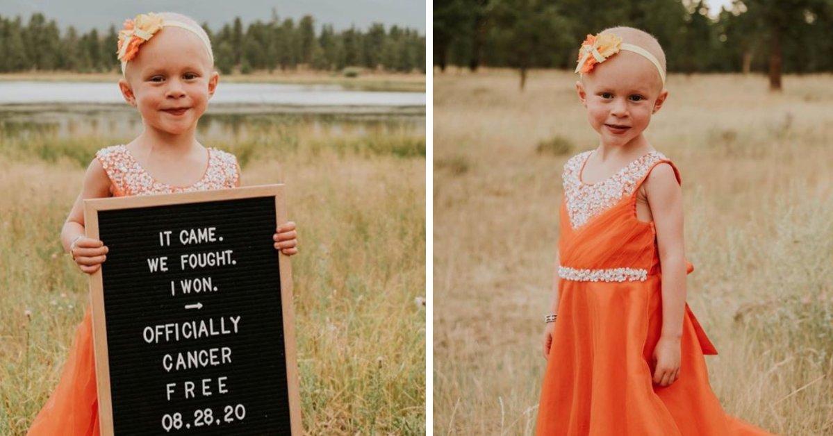 75756508 freefi1 e1601512537720.png?resize=412,232 - Une enfant de 4 ans célèbre sa victoire contre le cancer avec une séance photo