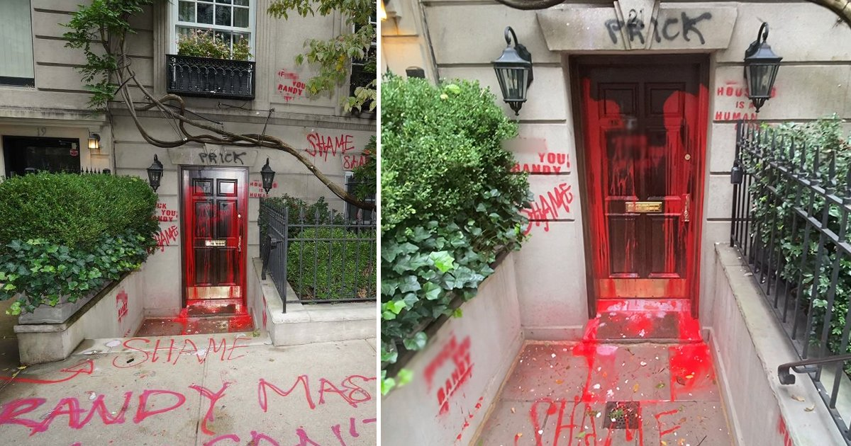 aahahah.jpg?resize=1200,630 - Vandals Attack Famous NYC Lawyer's Home With Graffiti In Bid To Oust The Homeless