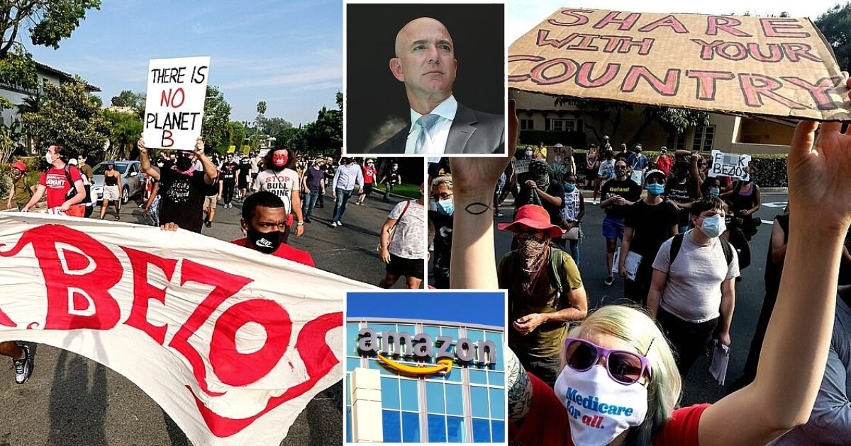 bezos8.jpg?resize=1200,630 - Protesters March Outside Amazon CEO Jeff Bezos' Mansion In Beverly Hills