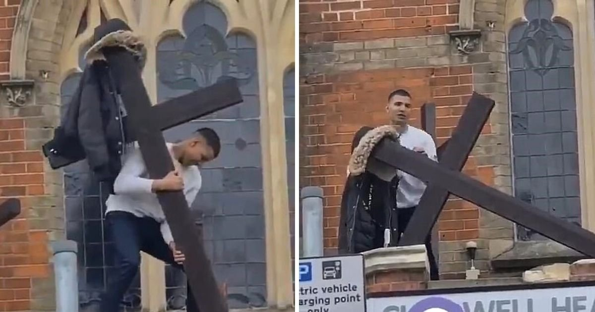 cross5.jpg?resize=1200,630 - Man Caught On Camera Trying To Tear A Wooden Cross From A Church
