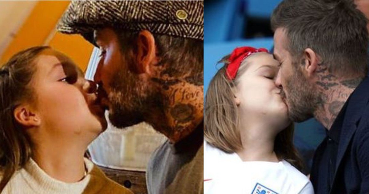 e18486e185aee1848ce185a6 58 1.jpg?resize=1200,630 - David Beckham Sparks Outrage After Giving Daughter Harper 'Affectionate' Kiss On Lips
