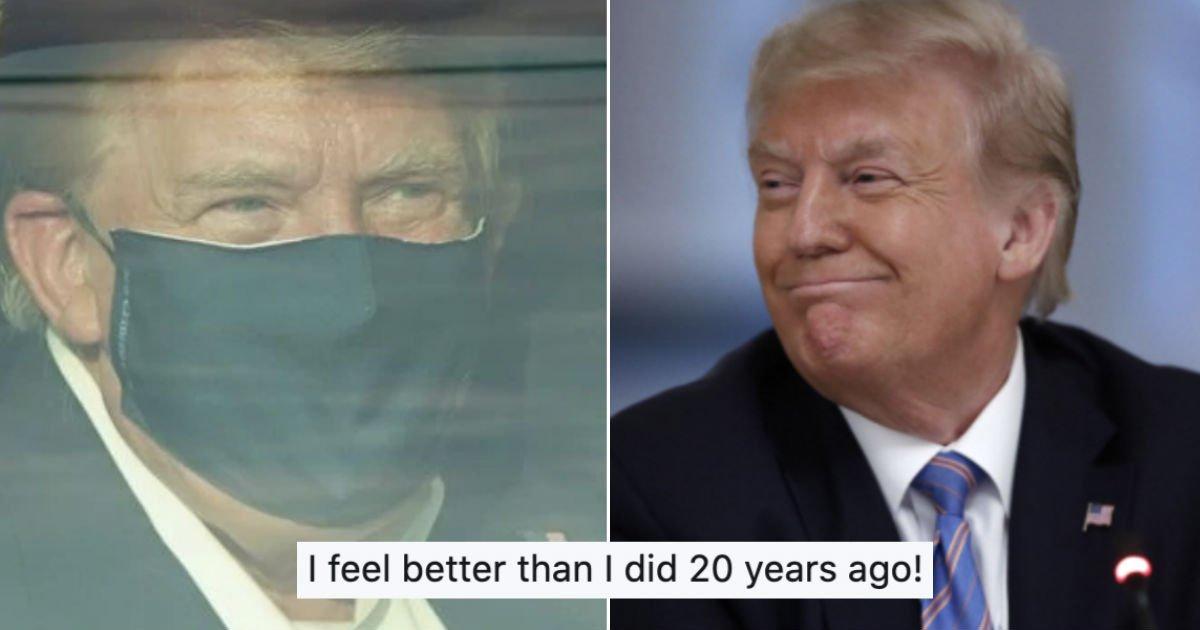 """trump 2.jpg?resize=1200,630 - 오늘 퇴원하는 트럼프, """"20년 전보다 상태 더 좋아졌다. 코로나19 두려워하지 마라"""" 발언에 비판 이어져"""