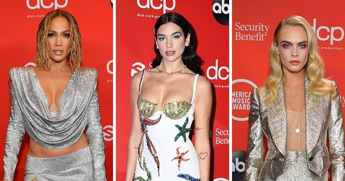 1 169.jpg?resize=412,232 - J.Lo, Dua Lipa and Cara Delevingne Bring The Sparkle As They Shimmer On The AMA Red Carpet