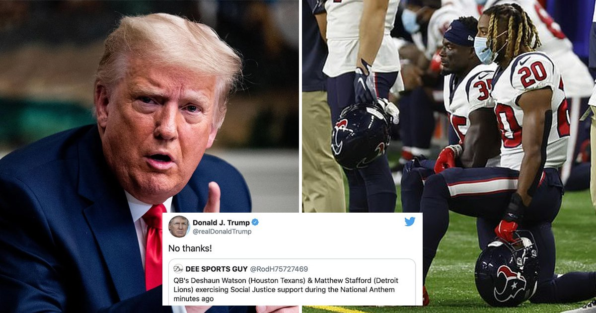 hhhhhhafa.jpg?resize=412,232 - Donald Says 'No Thanks!' To NFL Players Kneeling During The National Anthem