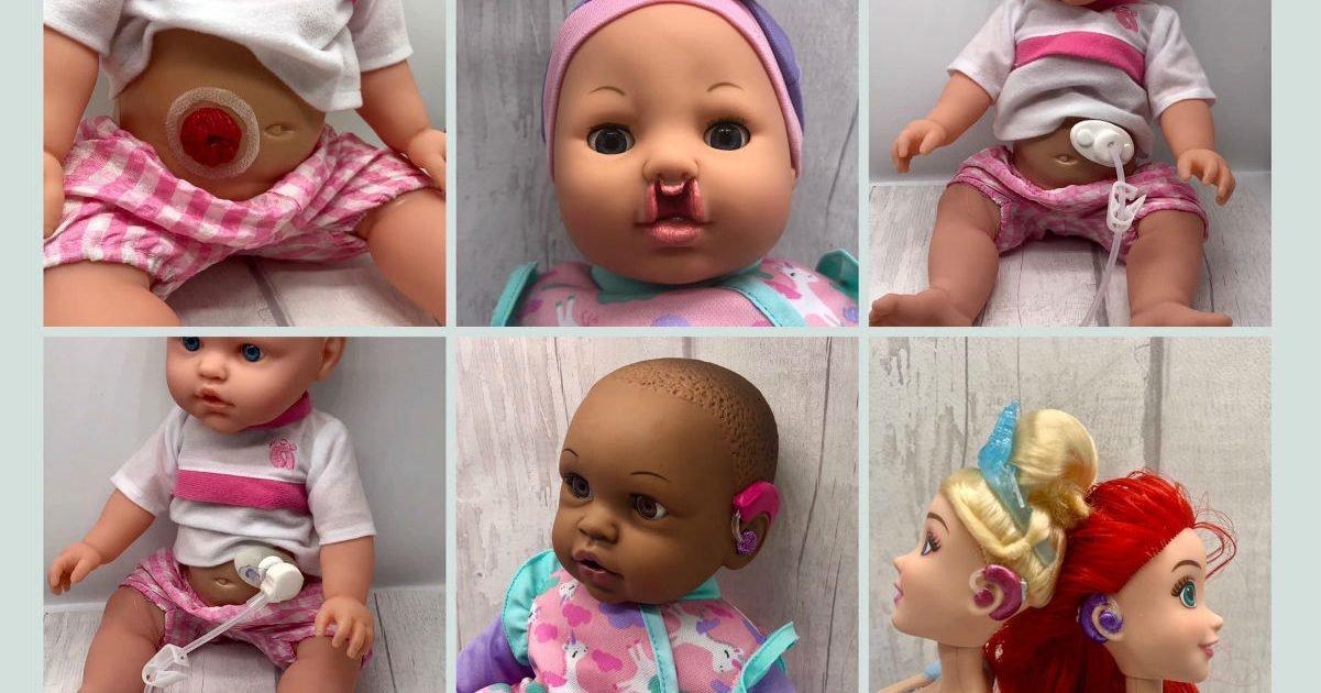 munecos inclusivos bright ears uk  e1605025906651.jpg?resize=412,232 - Une maman modifie des poupées pour des enfants malades