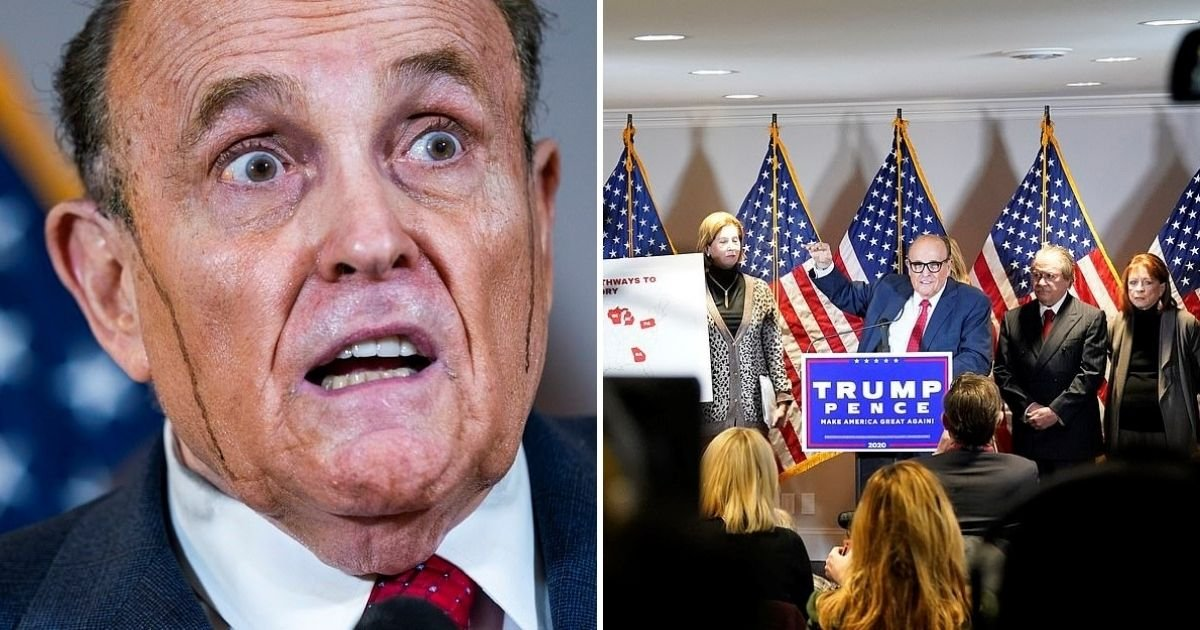rudy6.jpg?resize=1200,630 - Hair Dye Streams Down Sweating Rudy Giuliani In Latest Press Conference