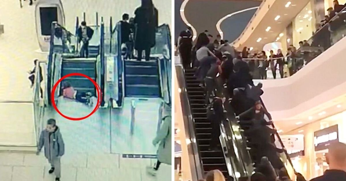 toddler5.jpg?resize=1200,630 - Frightened Toddler's Fingers Got Trapped In A Moving Escalator After She Wandered From Her Parents