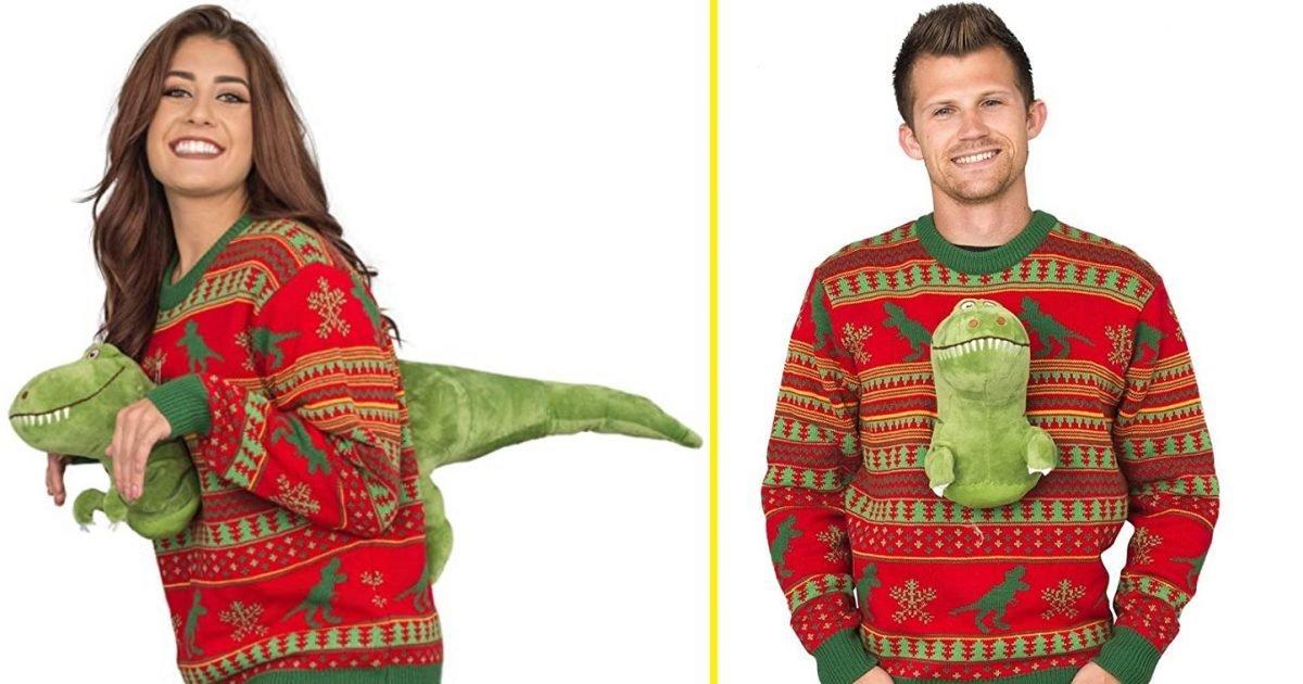 trex e1604943797685.jpg?resize=412,232 - Vous voulez avoir du style à Noël ? Voici le pull de Noël T-Rex !