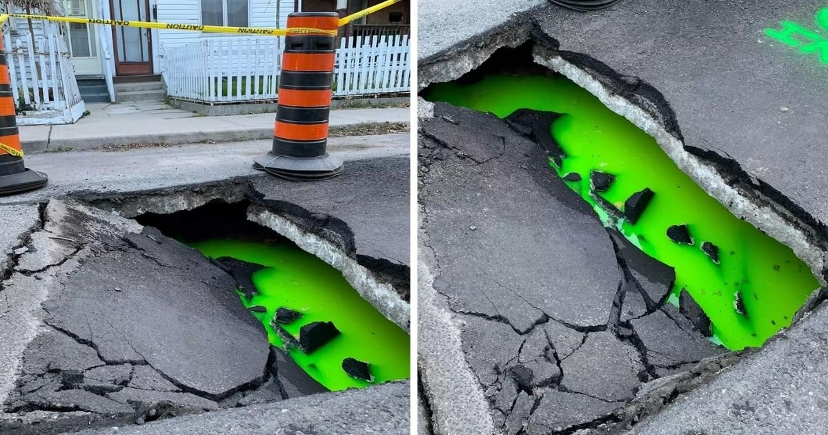 untitled design 2 17.jpg?resize=1200,630 - Neon Green Ooze Spotted Inside A Large Sinkhole In Residential Area