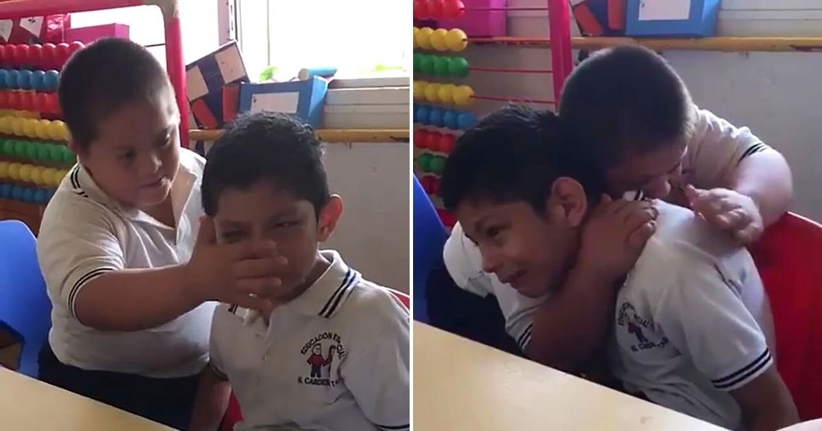 children4 1.jpg?resize=1200,630 - Boy With Down's Syndrome Comforts Classmate With Autism, And It's Melting Everyone's Hearts