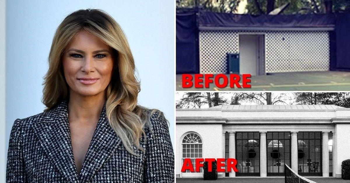 court6.jpg?resize=1200,630 - First Lady Melania Trump Transforms Tennis Court's Outhouse Into A Mini-White House