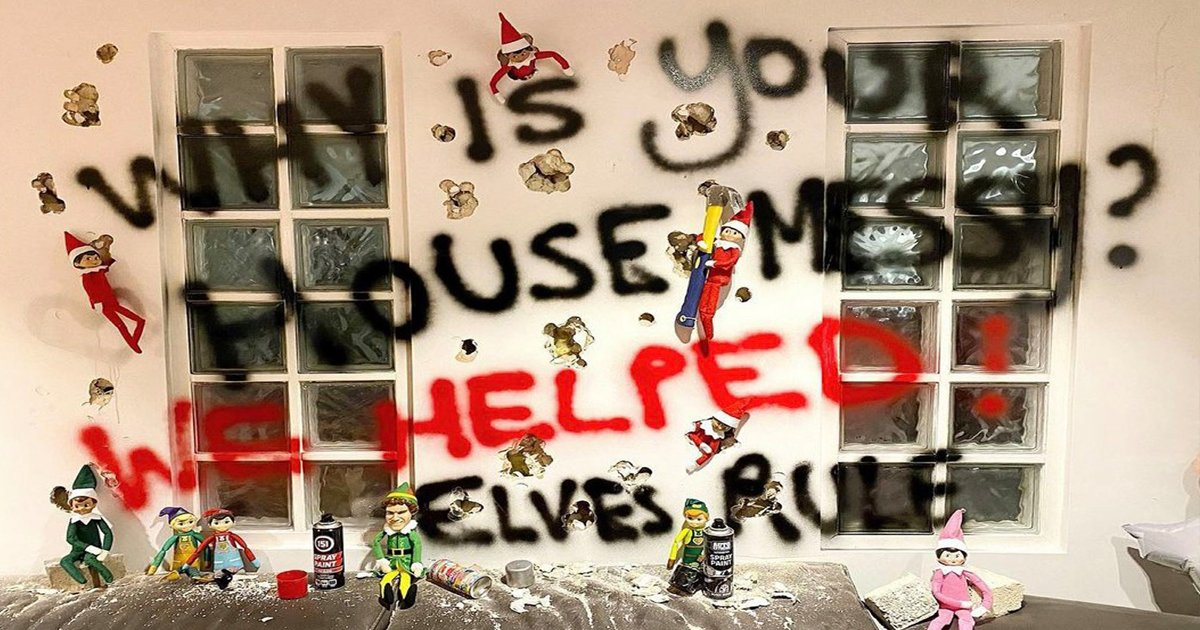 ergg.jpg?resize=1200,630 - Elf On The Shelf Prank Goes Extreme As Mum Covers House In Graffiti & Dyes Dog Green