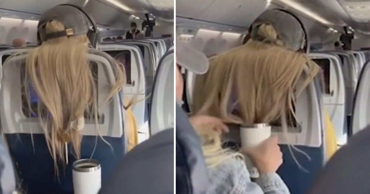 hagagag.jpg?resize=1200,630 - Infuriated Plane Passenger Sticks Chewing Gum Into Woman's Hair And Dunks It In Coffee