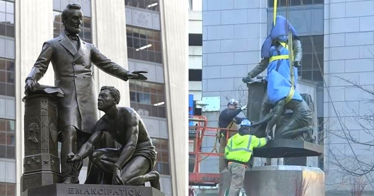 untitled design 2 21.jpg?resize=1200,630 - Statue Of Lincoln And Freed Slave Is Removed After It Made People Feel 'Uncomfortable'