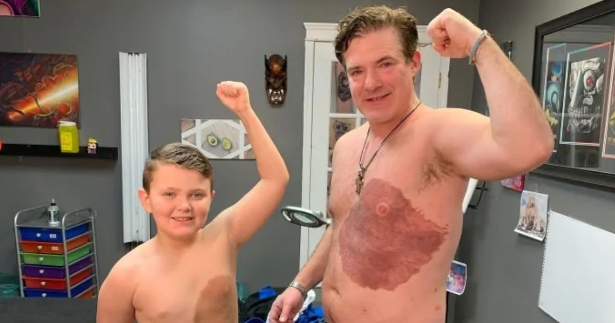 untitled design 8 2.jpg?resize=1200,630 - Devoted Father Gets A Giant Tattoo To Match Son's Birthmark