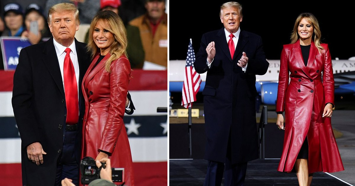 wwwrwer.jpg?resize=1200,630 - First Lady Melania Sizzles At Trump's Georgia Rally In $6,200 Red Hot Leather Attire