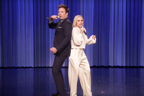 Jimmy fallon and Kirsten Bell