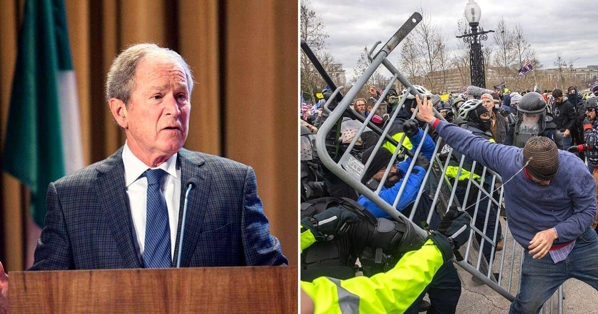bush3.jpg?resize=1200,630 - George W. Bush Slams 'Violent Assault On The Capitol' As Mitt Romney Claims Trump's Loyalists Caused It