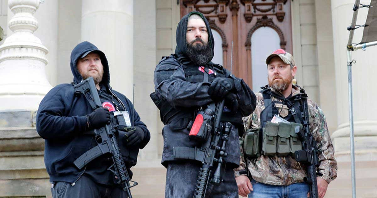 gettyimages 1211395465 0 1.jpg?resize=412,232 - Armed Protesters Arrive At Michigan Capitol