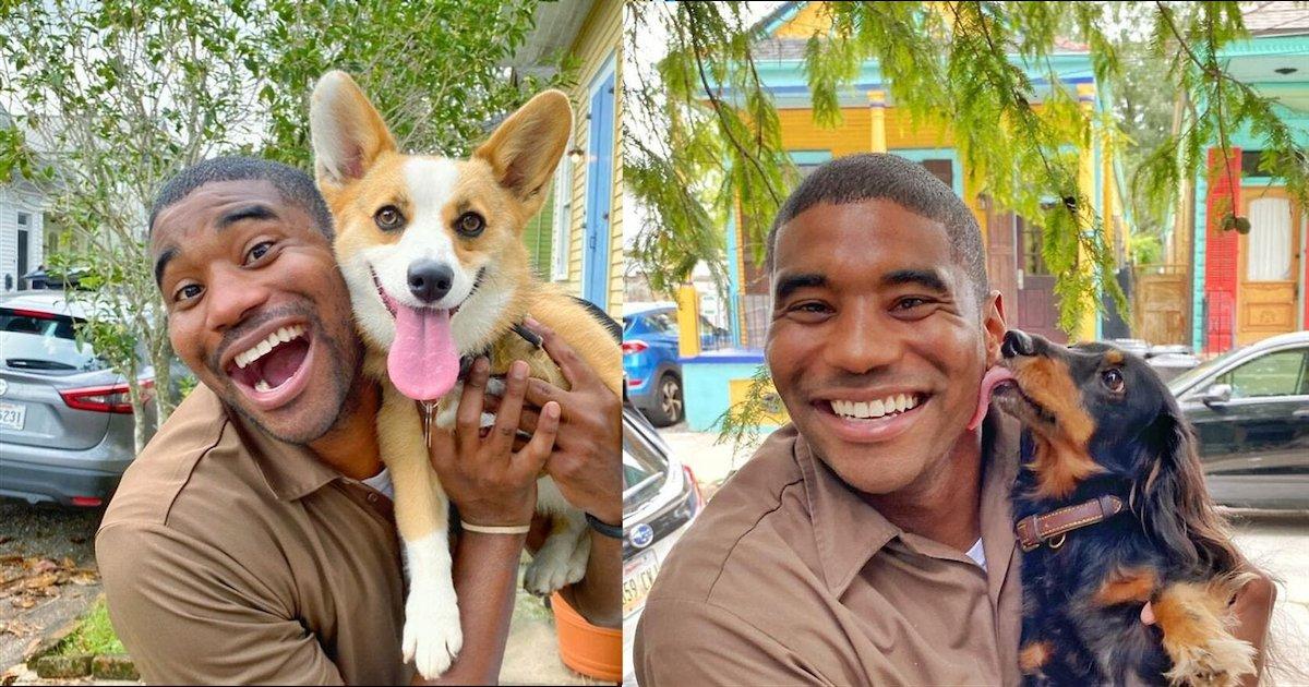 livreur.png?resize=1200,630 - Un livreur se prend en photo avec tous les chiens adorables qu'il croise lors de ses tournées