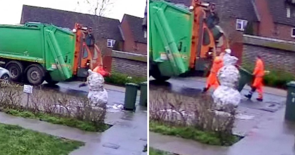 sdhhhh.jpg?resize=1200,630 - Binman Caught Kicking Innocent Child's Snowman In The Head Refuses To Apologize
