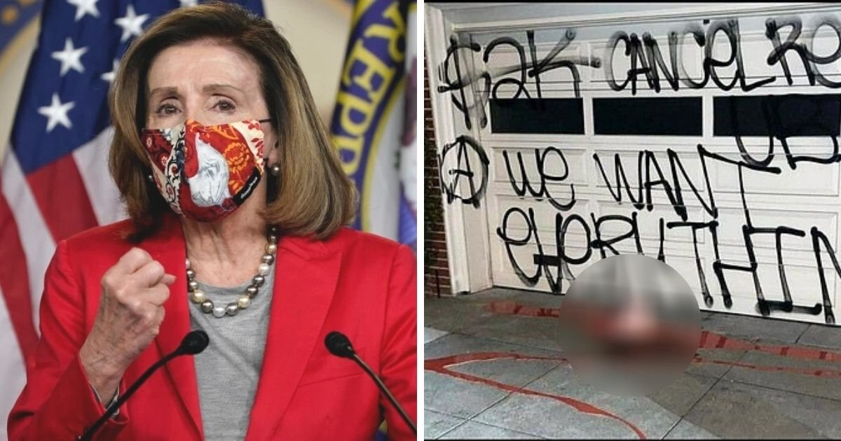 untitled design.jpg?resize=1200,630 - Nancy Pelosi's Home Gets Vandalized With Graffiti, Red Paint And A Pig's Head