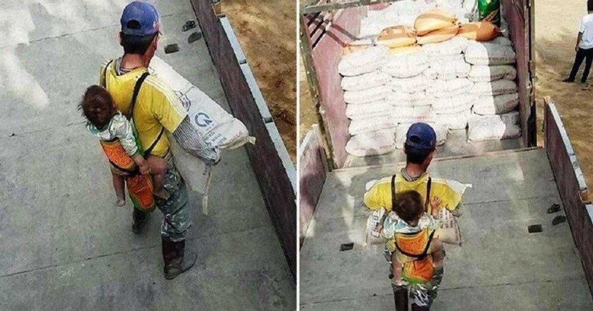 1 118.jpg?resize=1200,630 - Albañil Trabaja Con Su Bebé En La Espalda Día A Día Luego De Quedar Viudo