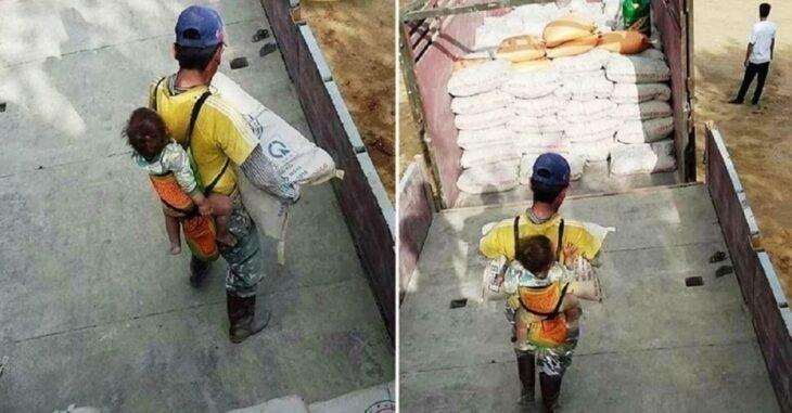 Resultado de imagen de trabaja con su hijo a espaldas tras quedar viudo