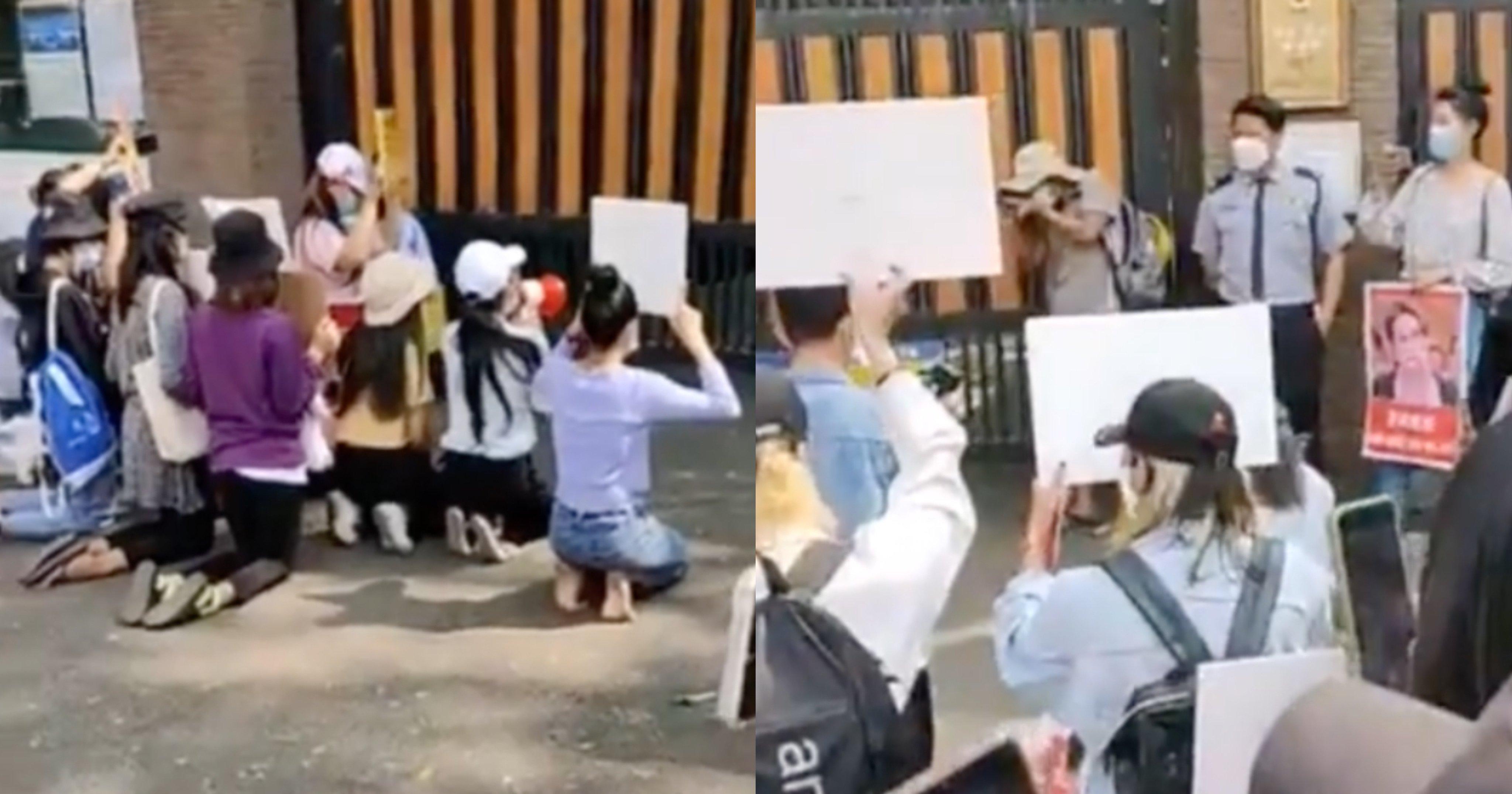 """b0d48518 ce71 4d9d a2bc 36abef0bf085.jpeg?resize=1200,630 - """"제발 도와주세요""""라며 한국말 하면서 한국대사관 앞에서 무릎 꿇고 있는 미얀마 시민들 (영상)"""