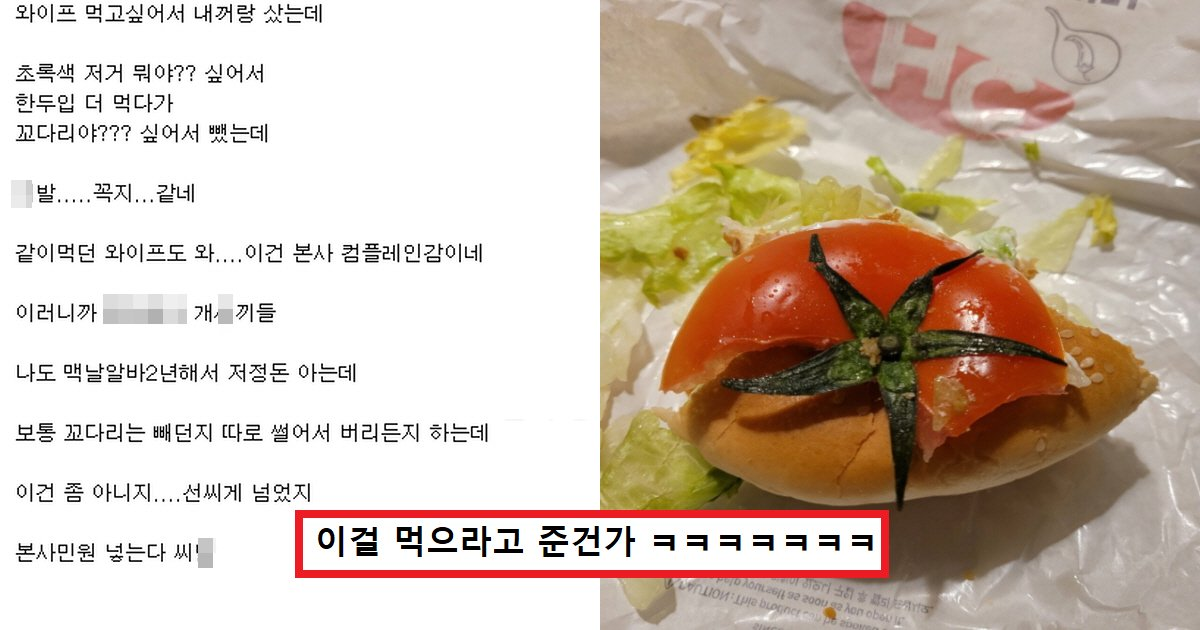 "assaassa.png?resize=412,232 - ""햄버거 먹다가 토마토 꼭지 가 나왔습니다 제 꼭지가 돌아버릴 것 같은데 어떻게 해야 할까요?""(+사진)"