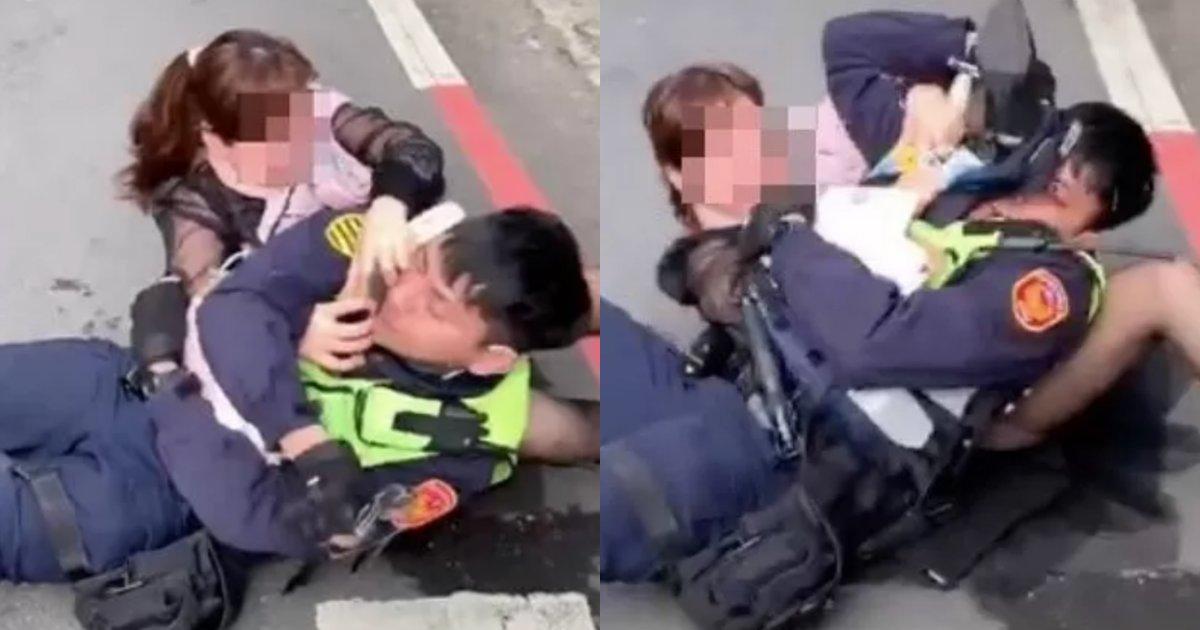 "collage 12.png?resize=412,232 - ""대체 무슨일 때문에??""... 길거리에서 갑자기 남자 경찰에게 '암바 기술' 걸어버린 여성 (+사진)"