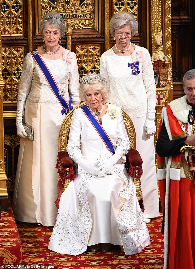 Camilla, Duchess of Cornwall (centre) flanked by Mistress of the Robes, Fortune FitzRoy, Duchess of Grafton (right) and Lady Susan Hussey (left) in 2019 at the opening of Parliament. The two women are the Queen