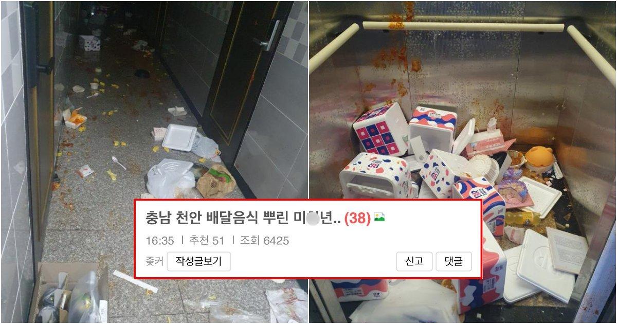 collage 41.png?resize=1200,630 - 현재 난리 난 충남 천안에서 100만원치 배달음식 건물 전체에 뿌린 여성 (+사진)