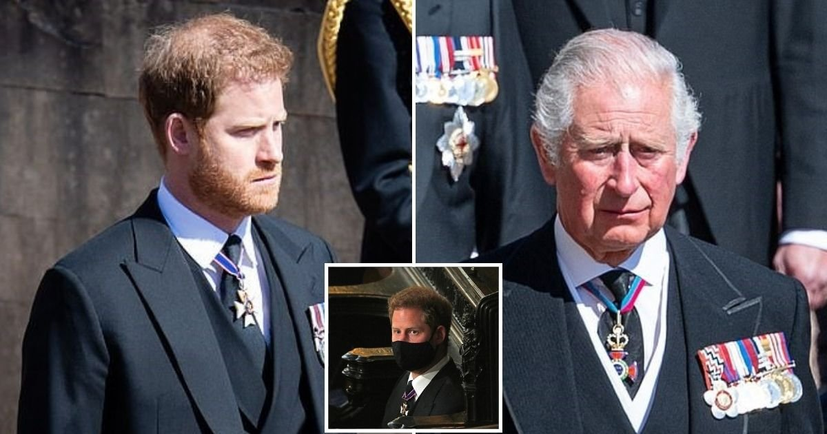 harry3 1.jpg?resize=412,275 - Prince Harry Will Fly Back To US To Be With Meghan After He And Prince Charles Take A Walk To View Floral Tributes To Prince Philip