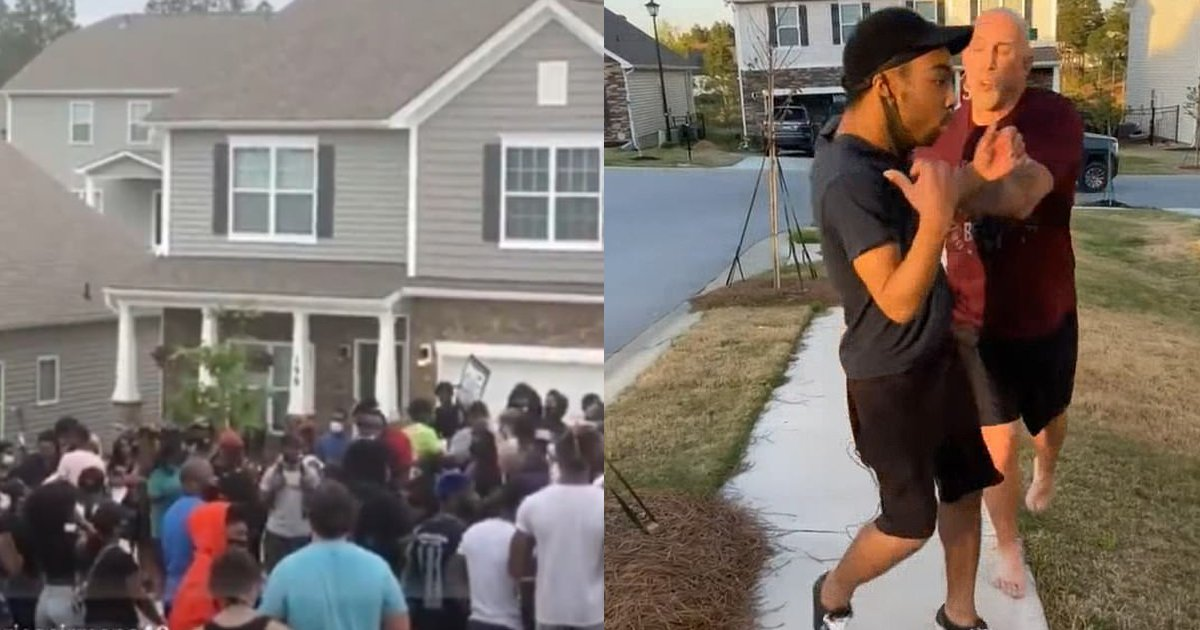 push 2.png?resize=412,232 - Arrested U.S. Army Sergeant Who Pushed Black Man Faces HOARDS Of BLM Protesters Outside Of His Home