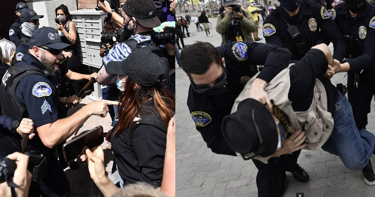 """rally thumb 3.png?resize=412,232 - Outraged Police Pin People Down At An """"Unruly Gathering"""" For A """"White Lives Matter"""" Rally Which Faces Heat Against """"Anti-Fascist"""" Demonstrators"""