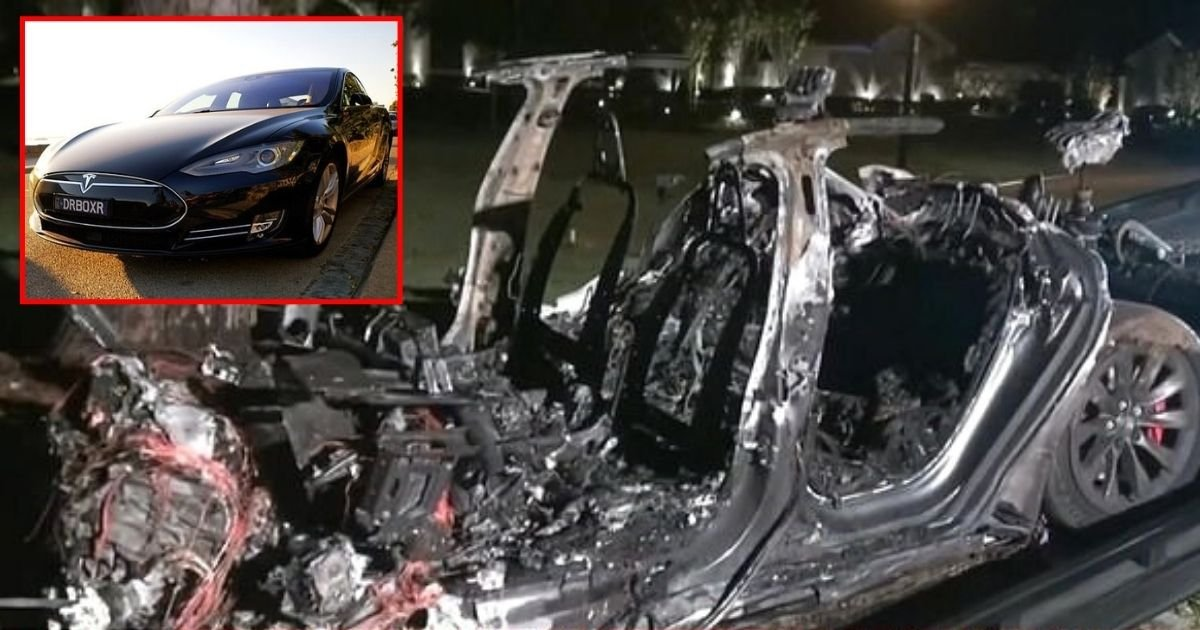 tesla4 1.jpg?resize=412,275 - Two Men Tragically Died After Car 'On Auto-Pilot With No One In Driving Seat' Crashed Into A Tree And Started A Huge Fire