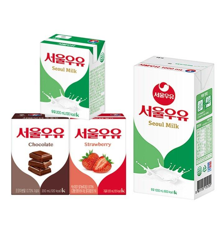 서울우유 멸균우유 1000ml 1L 10개 / 흰 우유 딸기 초코 200ml x 24팩 - 티몬
