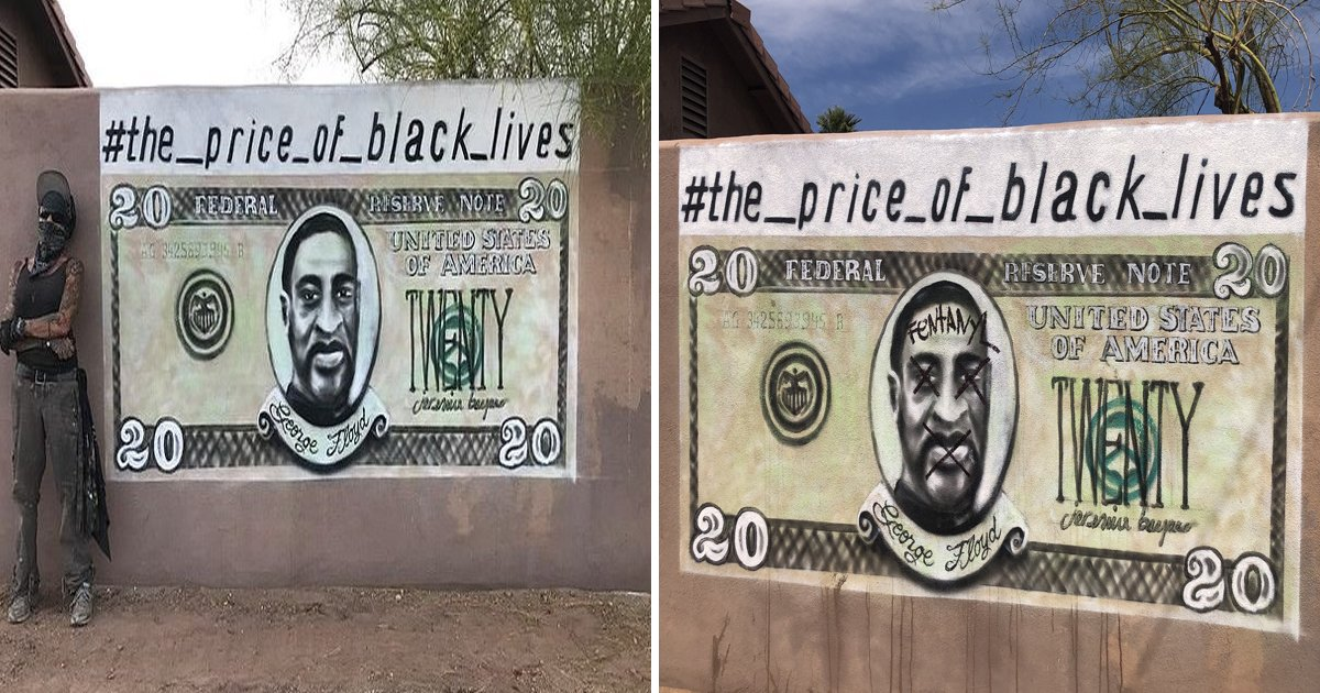 sgsgsgss.jpg?resize=1200,630 - Controversial George Floyd Mural With His Face Printed On A $20 Note Gets Repainted After Damage In Phoenix