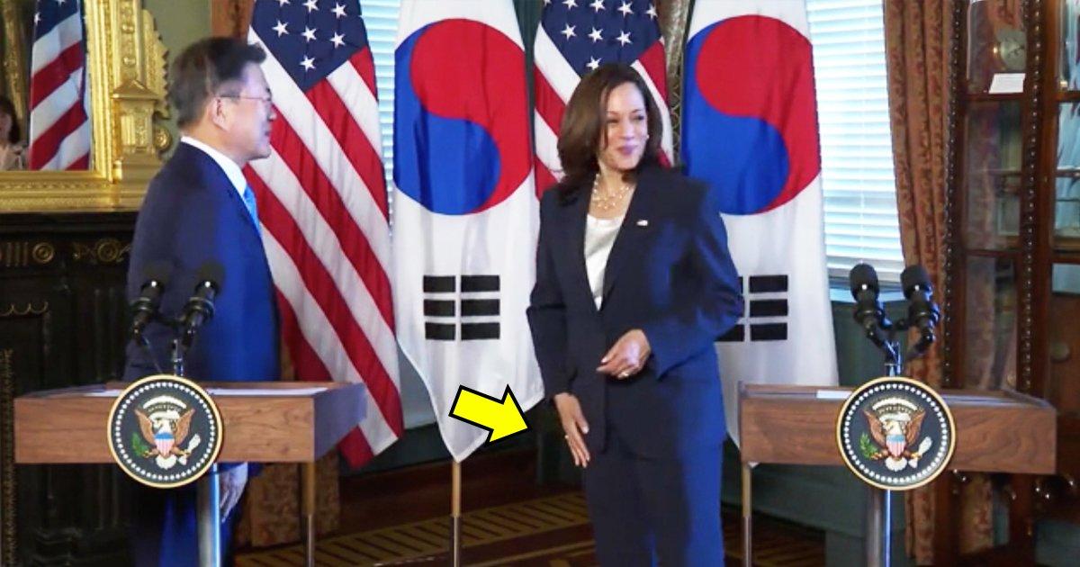 t5 22.jpg?resize=1200,630 - Kamala Harris Slammed On Twitter For WIPING Her Hand After Greeting South Korean Leader