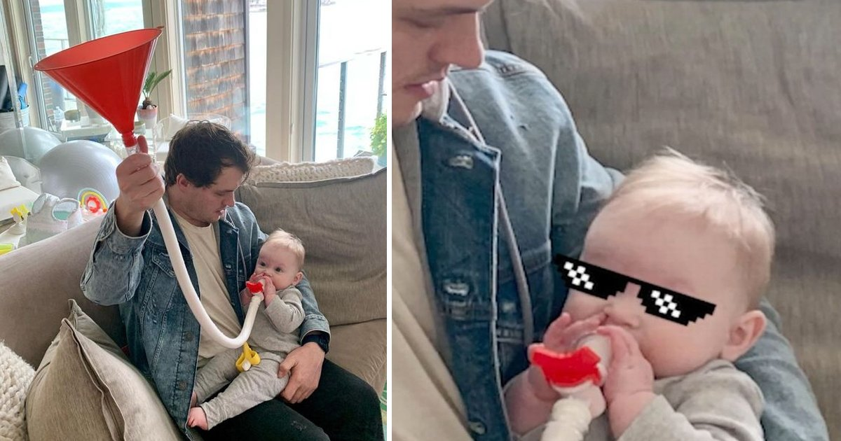 w1 12.jpg?resize=412,232 - Dad Leaves People In Stitches After Feeding Baby Daughter MORE Milk Using Beer Bong