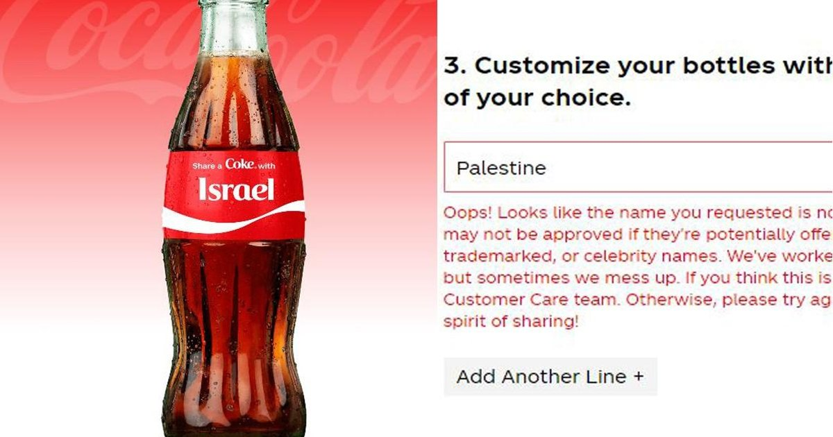 q3 23.jpg?resize=1200,630 - Coca-Cola BLASTED As Personalized Label Tool On Bottles BANS 'BLM' & 'Palestine'